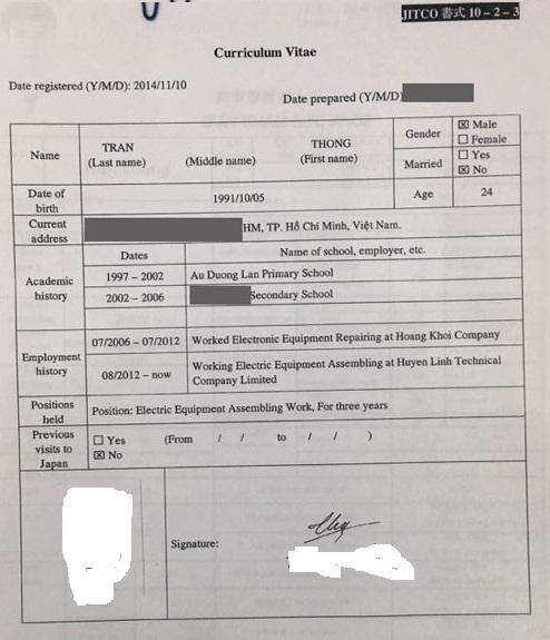 Mẫu CV gốc đi XKLĐ Nhật Bản
